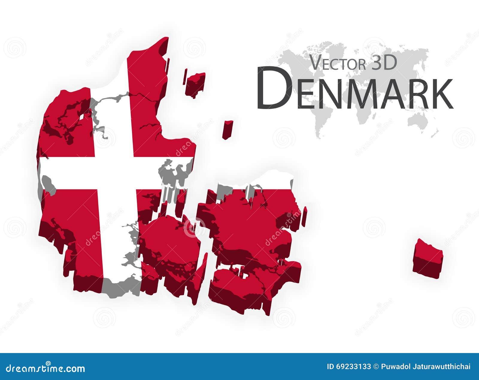 Kongeriget Danmark 3D (bandera y mapa) (concepto del transporte y del turismo)