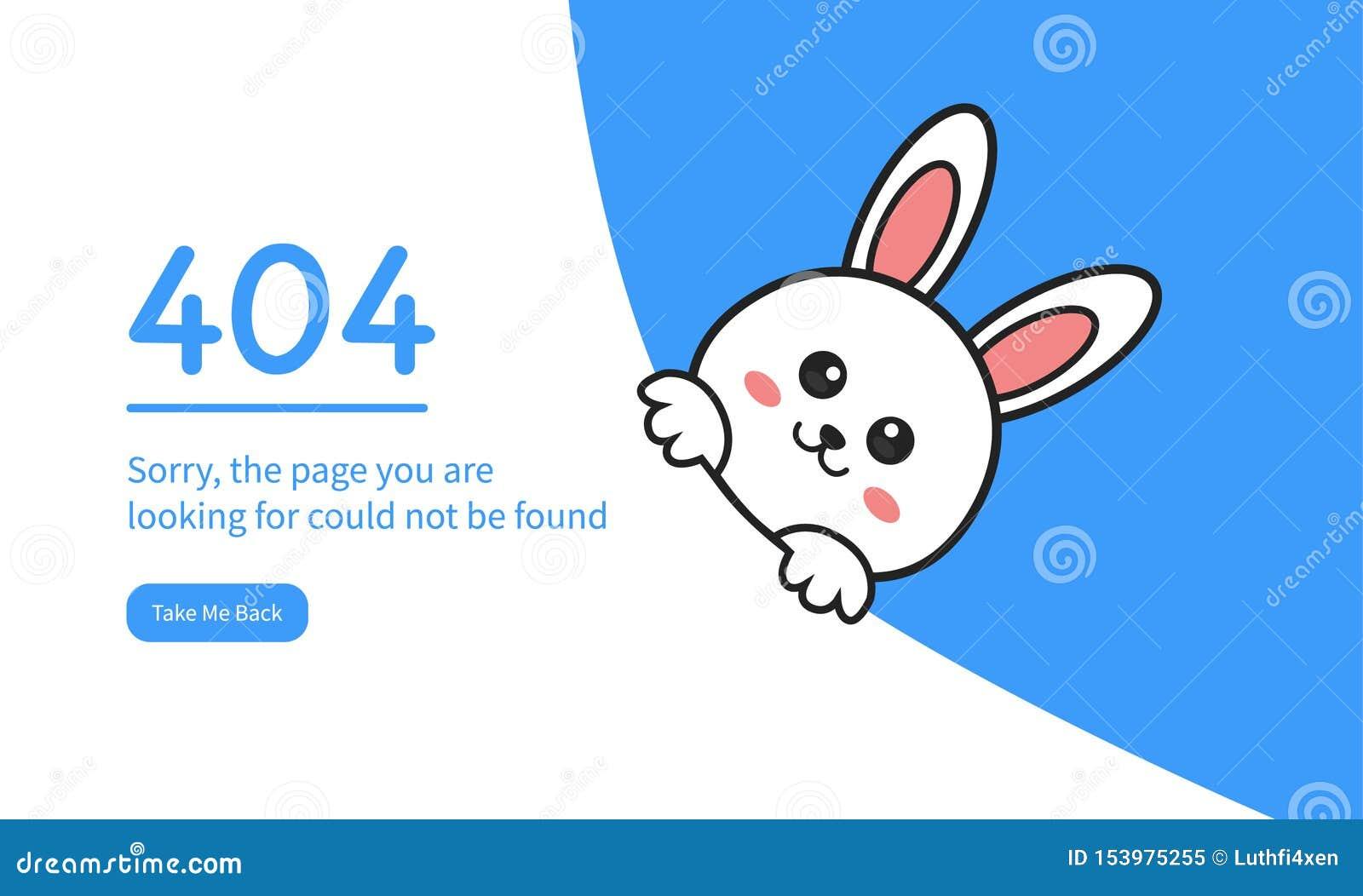 Konijn of Bunny For 404 het Ontwerp van Foutenwebpagina s