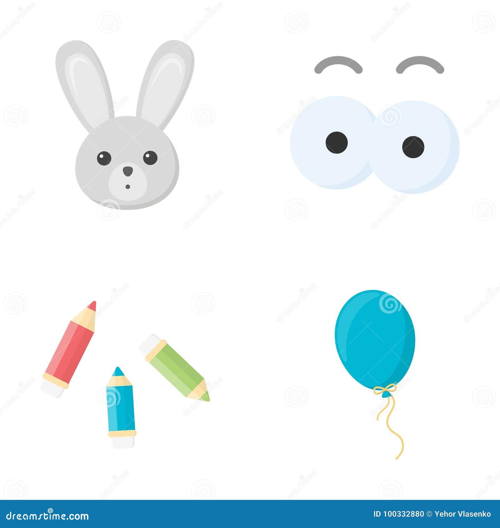 Konijn met lange oren, kleurpotloden voor tekening, blauwe luchtballon, oogspeelgoed met wenkbrauwen Speelgoed geplaatst inzameli