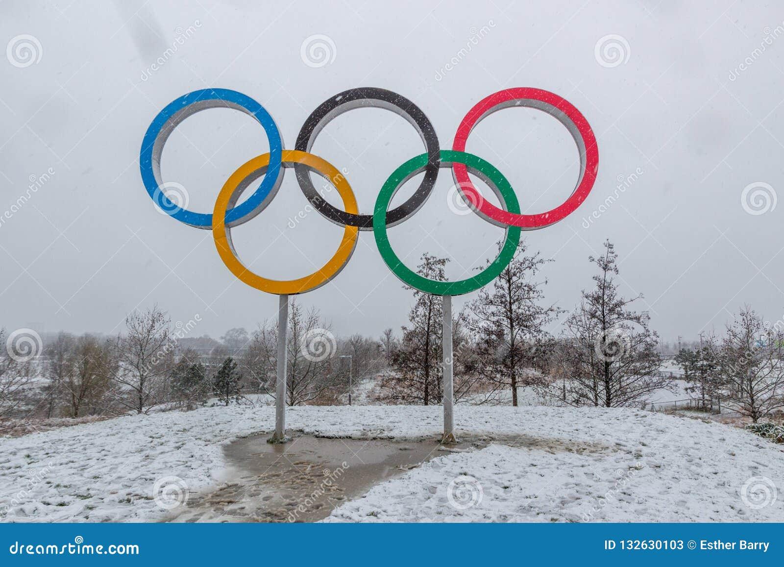Koningin Elizabeth Olympic Park in sneeuw