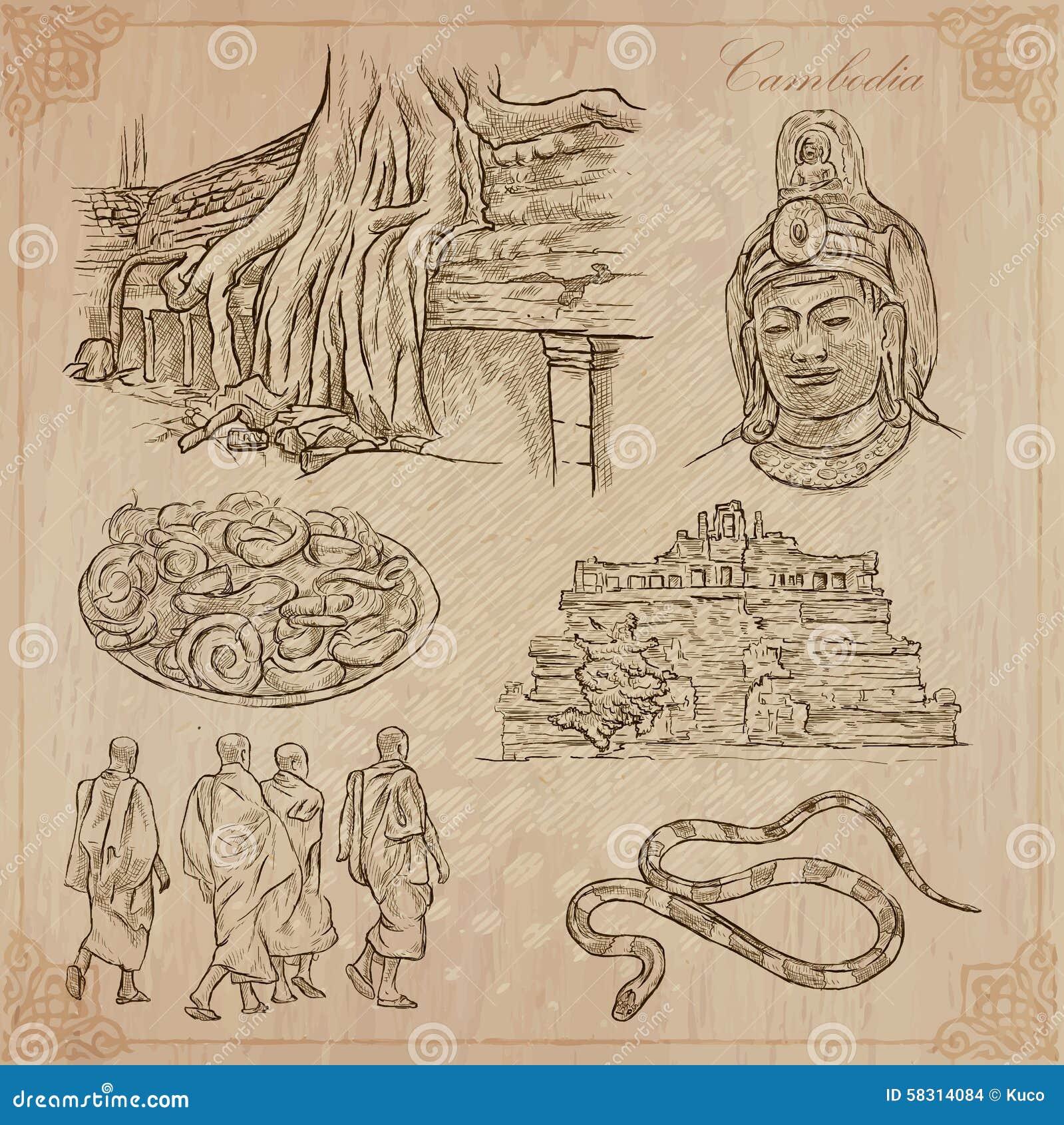 Koninkrijk van Kambodja - Hand getrokken vectorpak