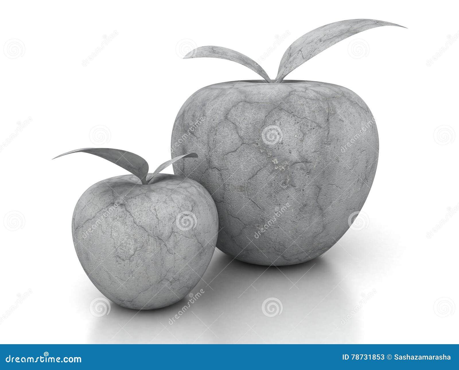 Konkret äpple för sten på vit bakgrund