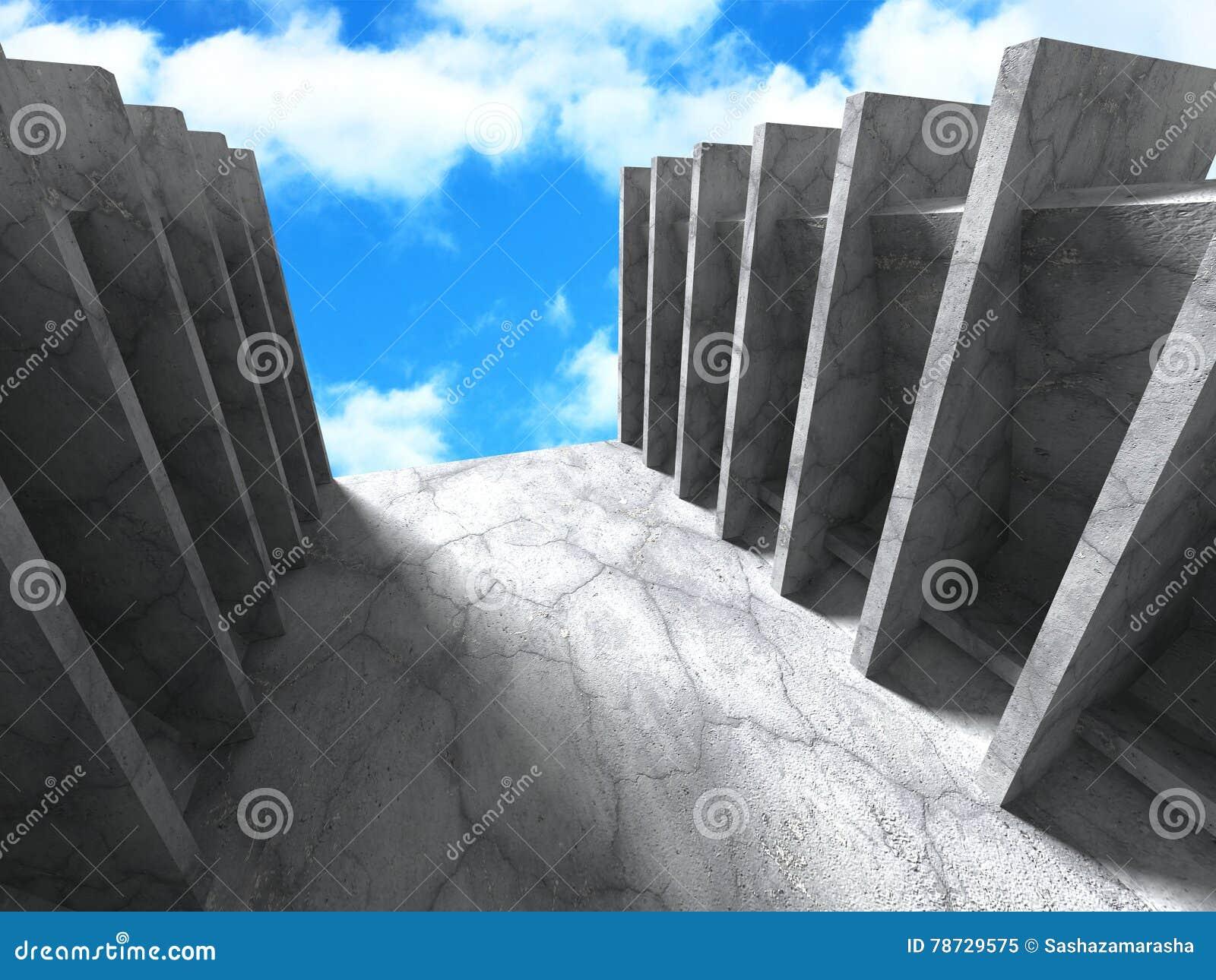 Konkret abstrakt arkitektur på bakgrund för molnig himmel