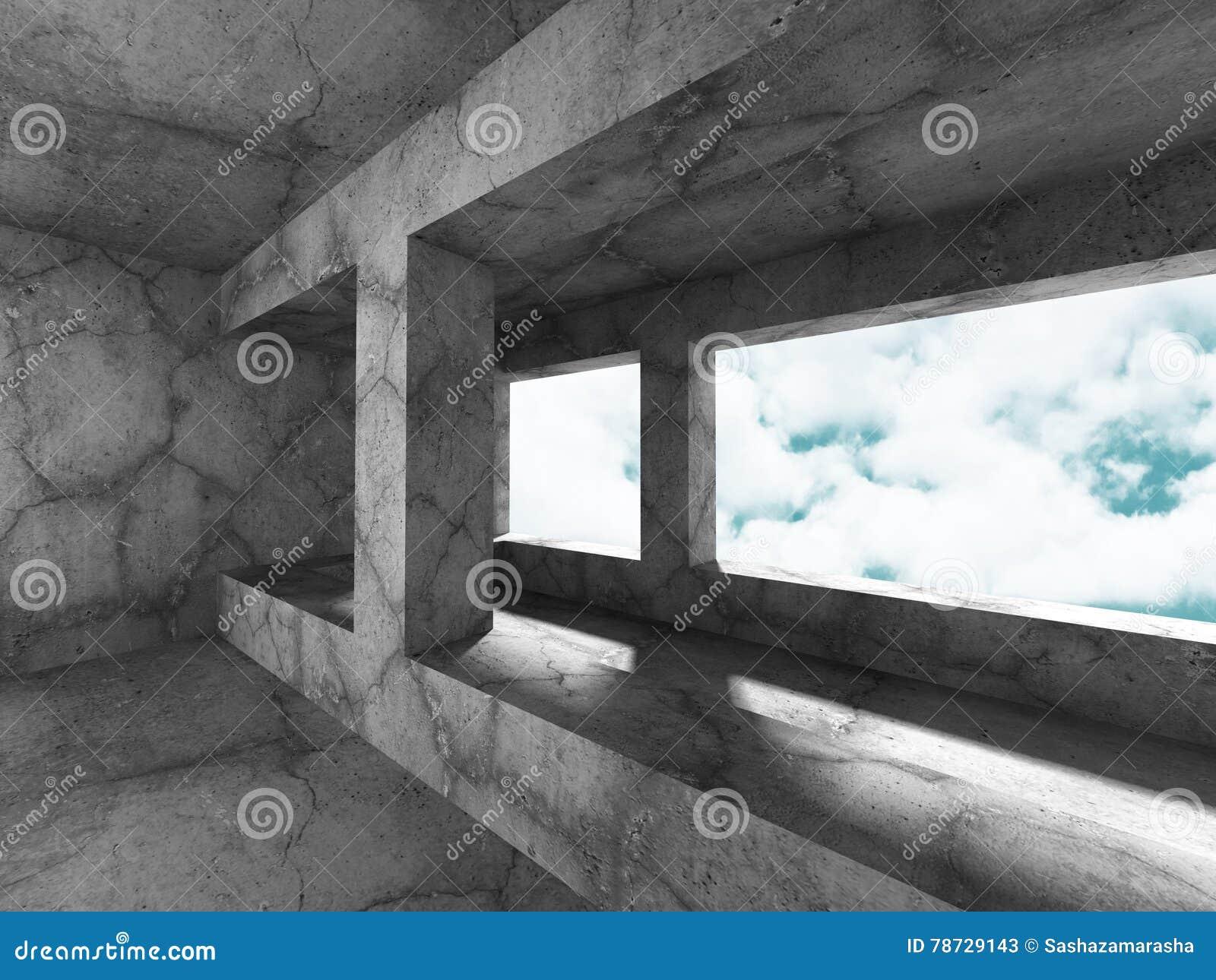 Konkret arkitekturbakgrund Minimalistic tomt rum med c