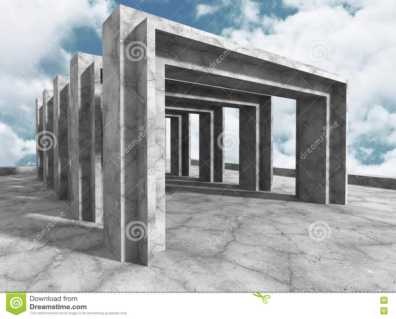 Konkret arkitekturbakgrund Modern byggnad på molnig himmel