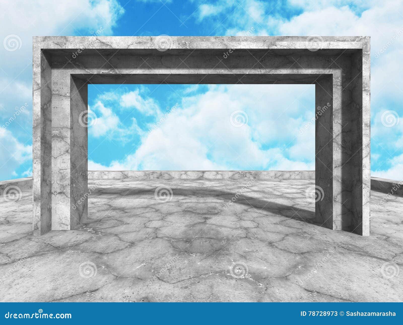 Konkret arkitekturkonstruktion på bakgrund för molnig himmel