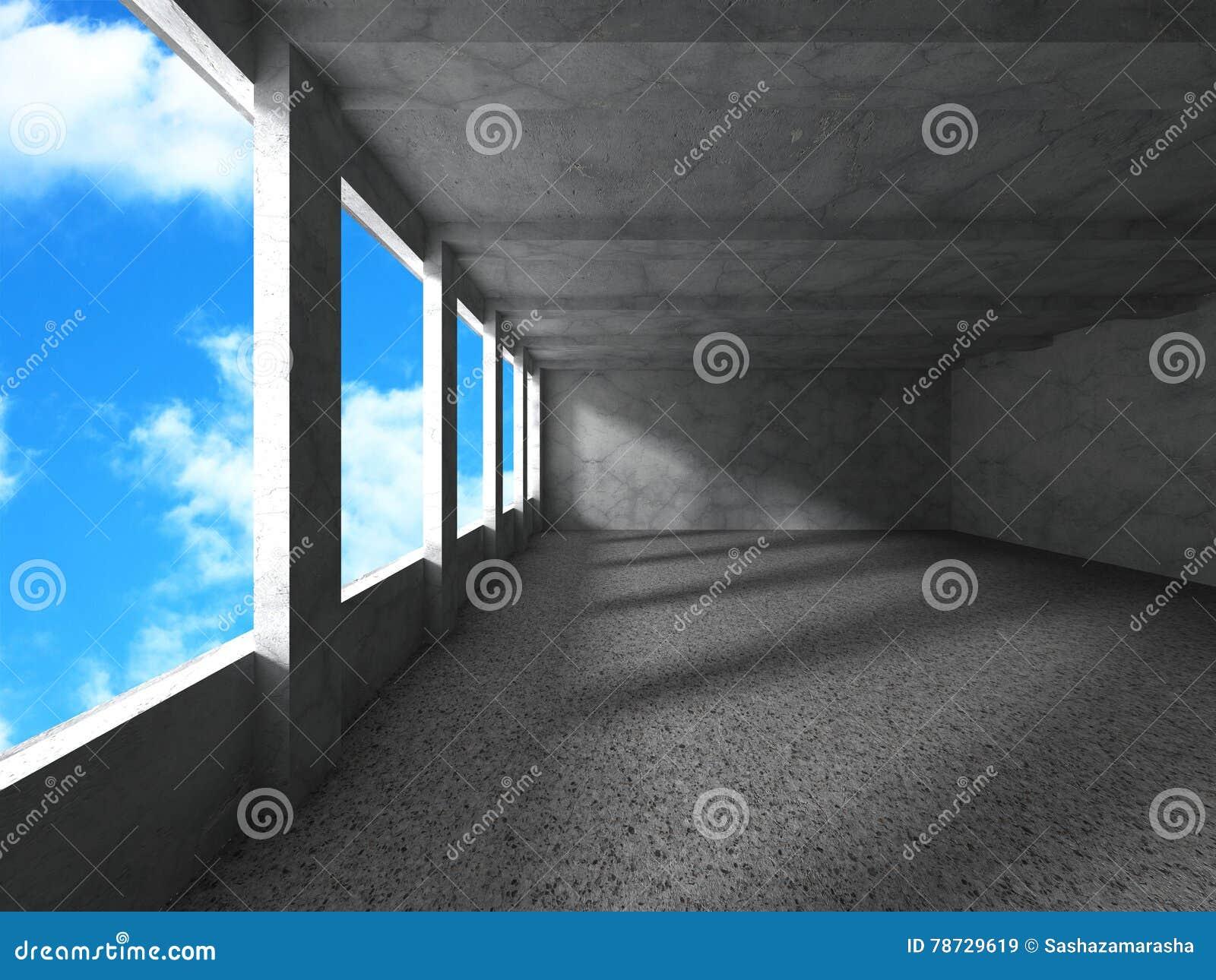 Konkret arkitekturkonstruktion på bakgrund för molnig himmel Emp