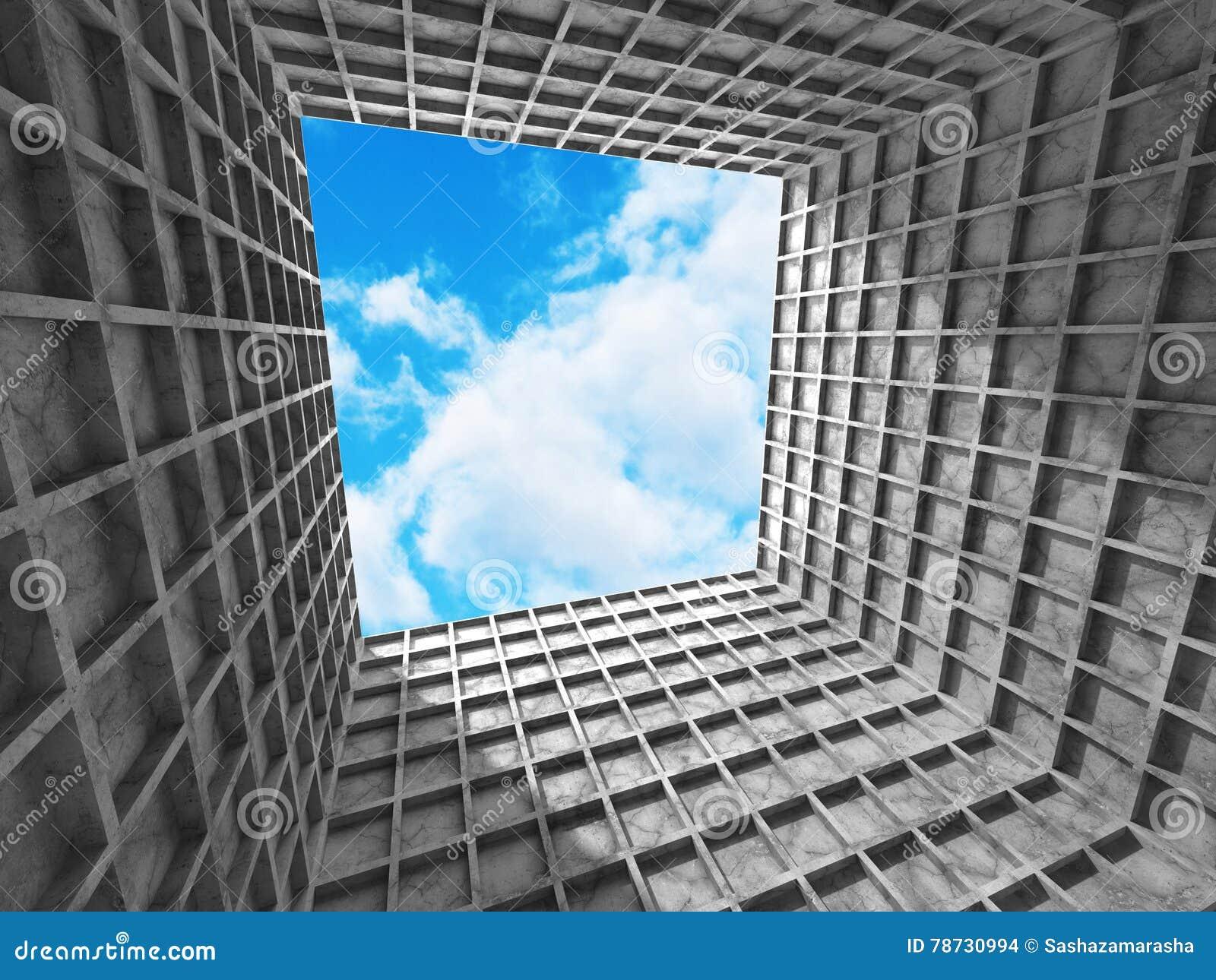 Konkret arkitekturväggkonstruktion på bakgrund för molnig himmel