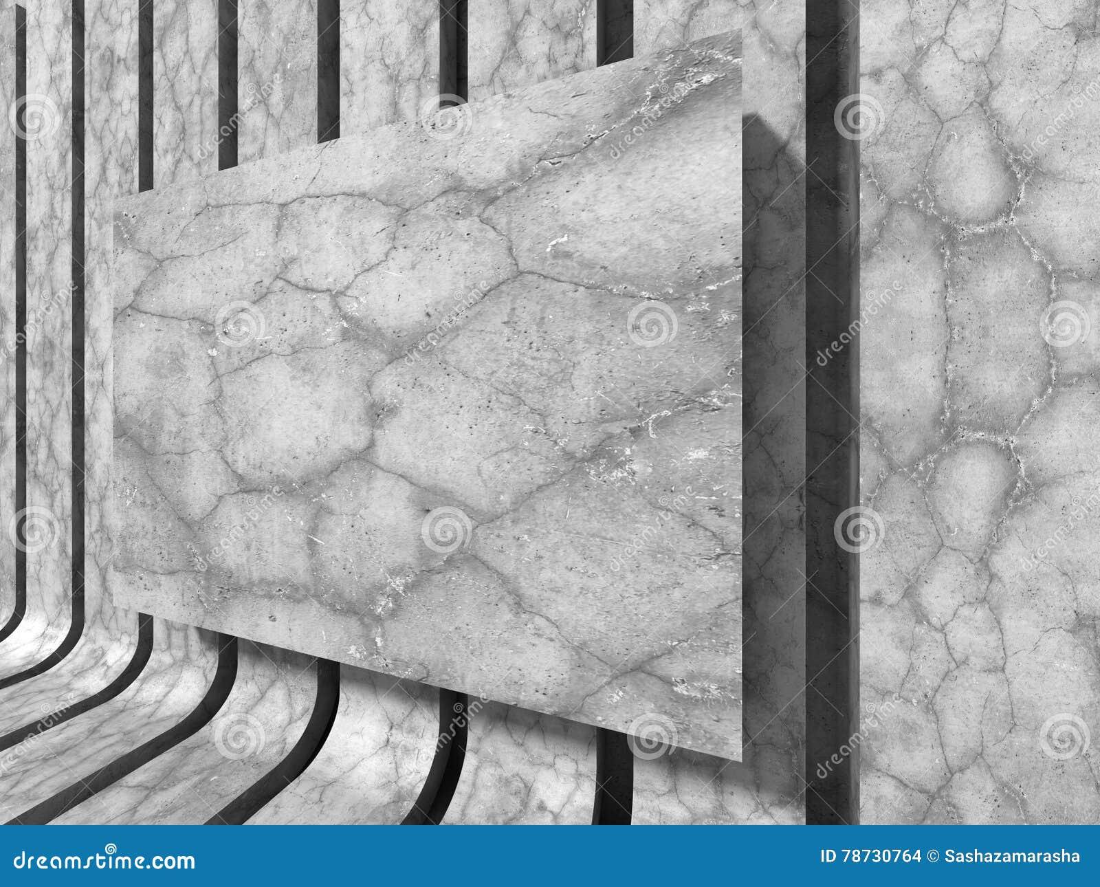 Konkret baner för tom vägg teckning för blå kompass för arkitekturbakgrund djup över