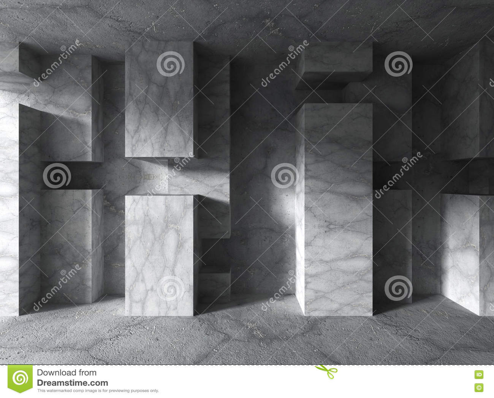 Konkret geometrisk arkitektur Tom mörk stads- ruminre