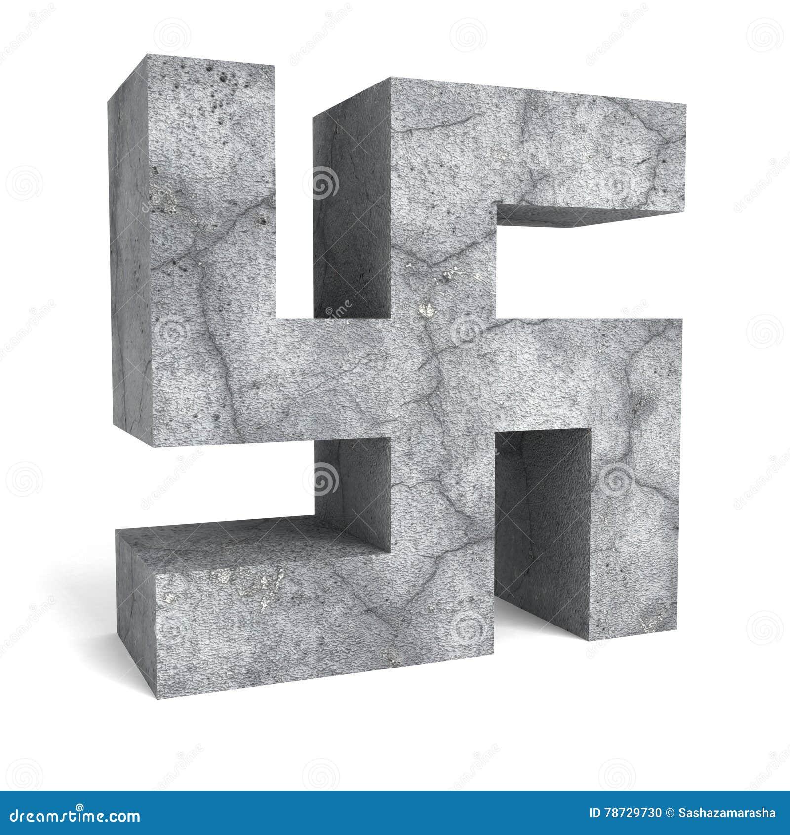 Konkret hakkorssymbol för sten på vit bakgrund