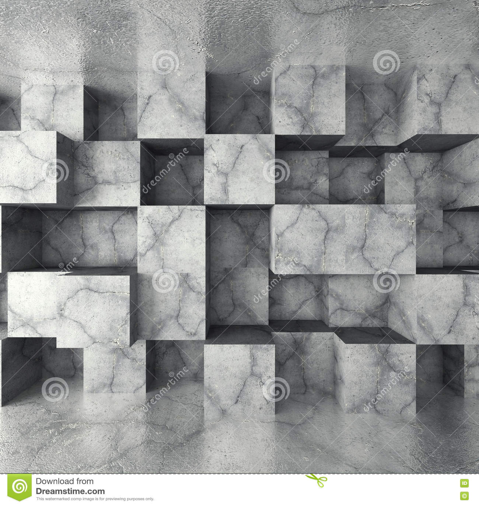 Konkret mörker tömmer rum med den kaotiska kubväggen Arkitektur b