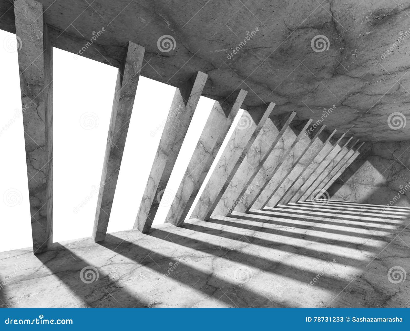 Konkret mörker tömmer rum med kolonner och ljus Stads- arkitekt