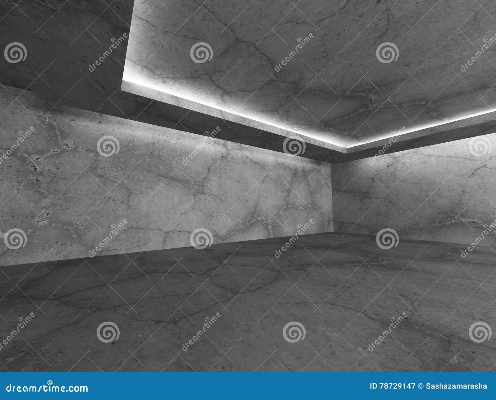 Konkret mörker tömmer rum med takljus Modern stads- archi