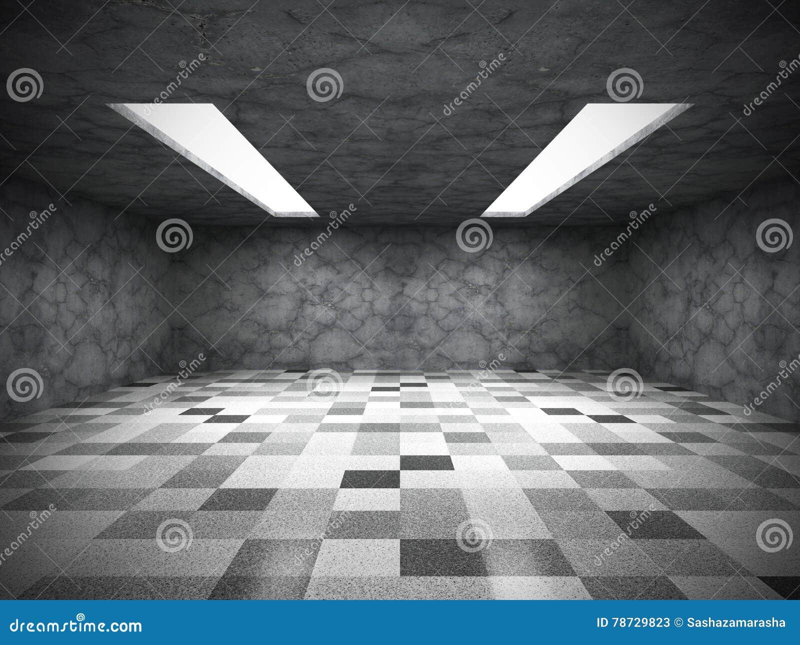Konkret mörker tömmer rum med tegelplattagolvet abstrakt arkitektur