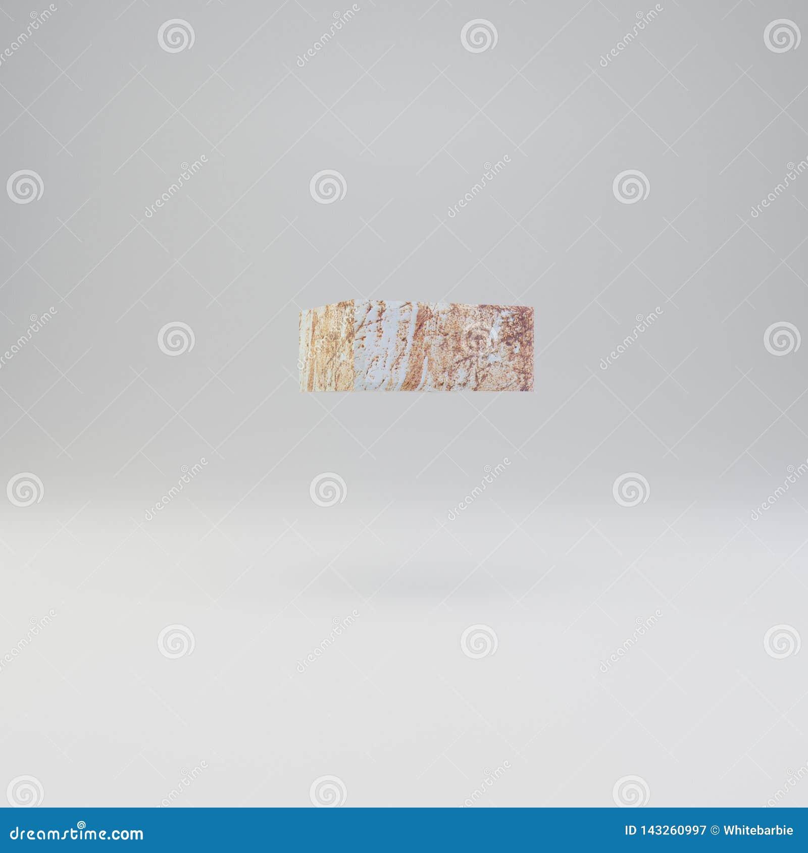 Konkret minus des Symbols mit rostigen Metallkratzern auf weißem Hintergrund
