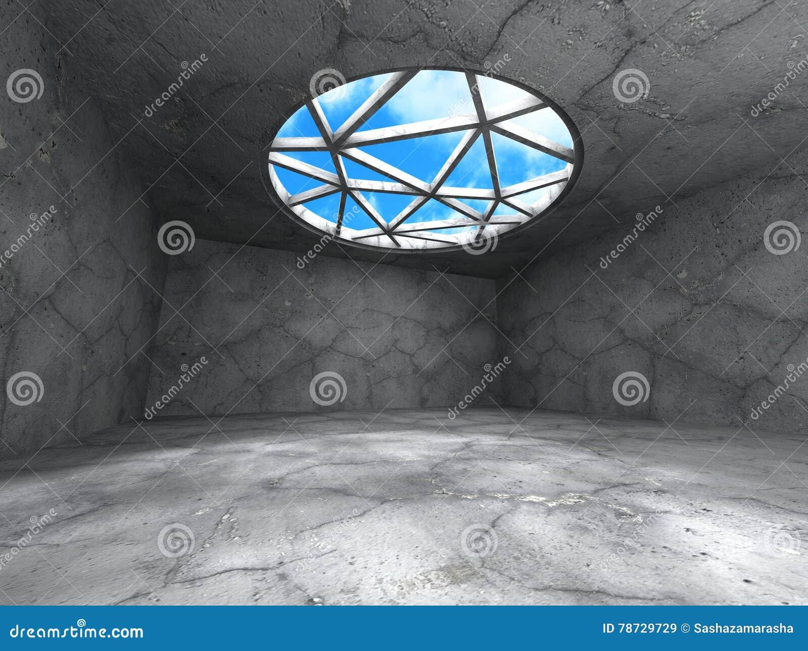 Konkret rum med fönstret till himmel Abstrakt arkitekturbackgrou