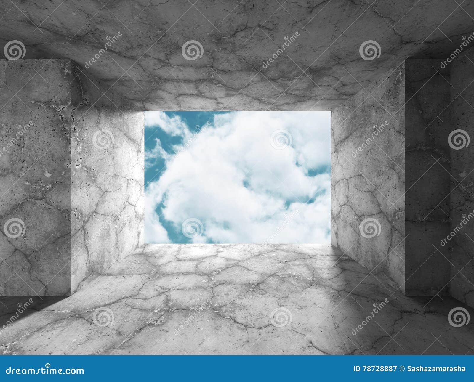 Konkret rumväggkonstruktion på bakgrund för molnig himmel