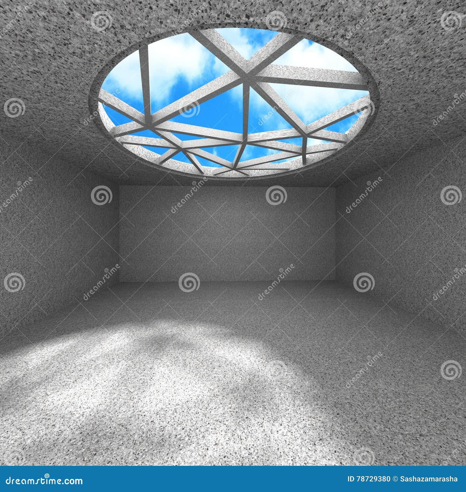 Konkret töm rum med takfönstret till molnig himmel