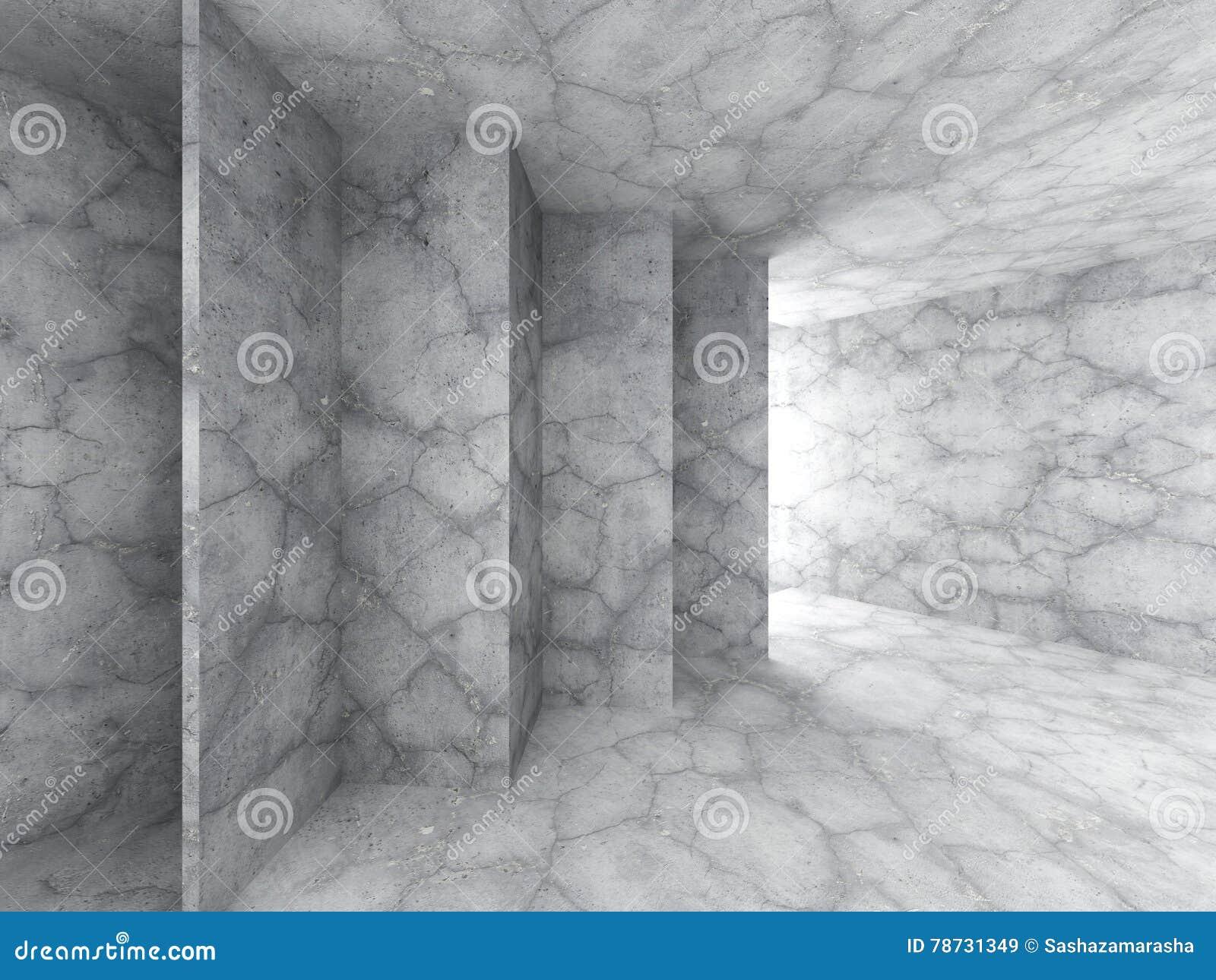 Konkret tom inre för mörkt rum med den ljusa utgången arkitektur