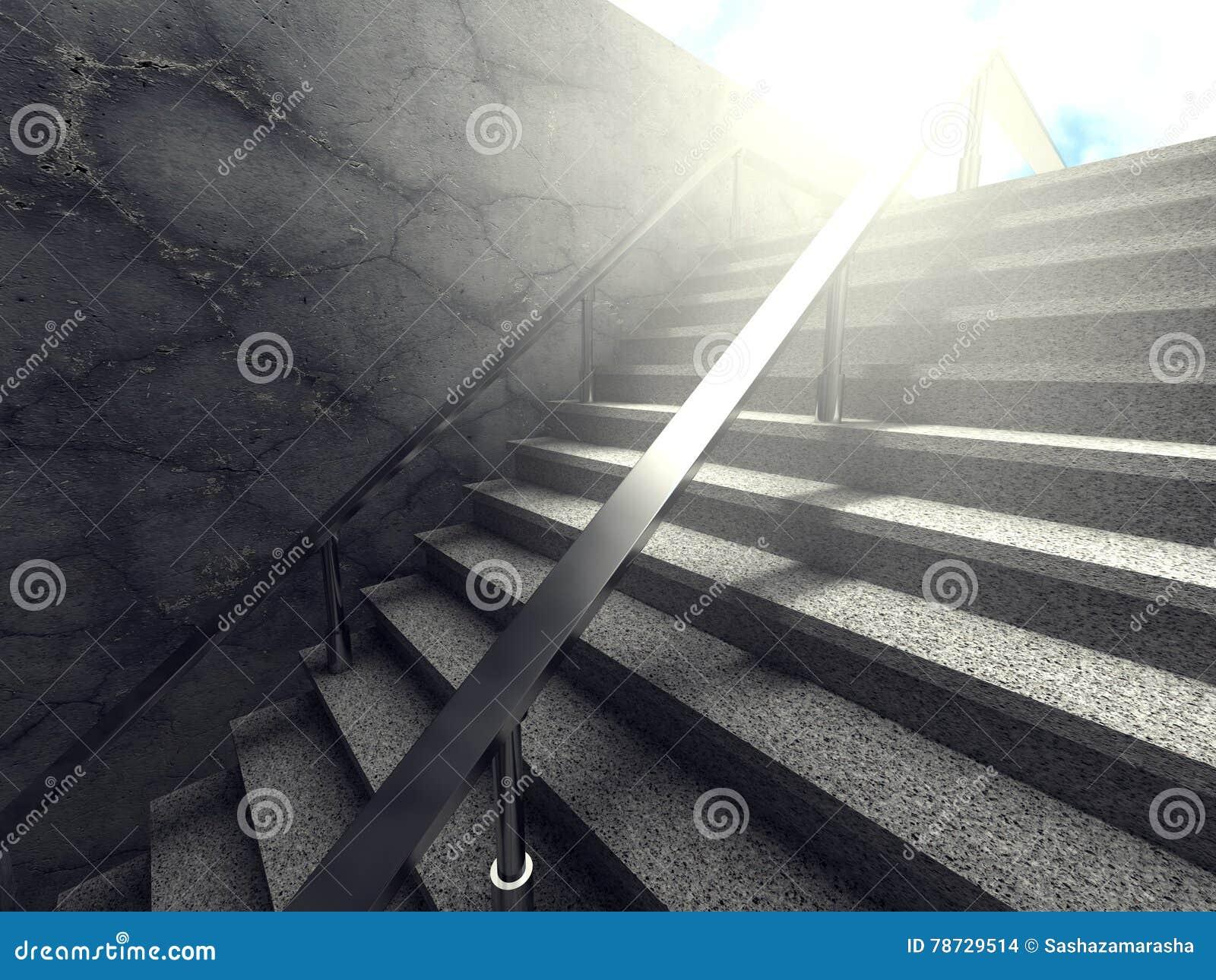 Konkret trappa med modern byggnad för tom vägg