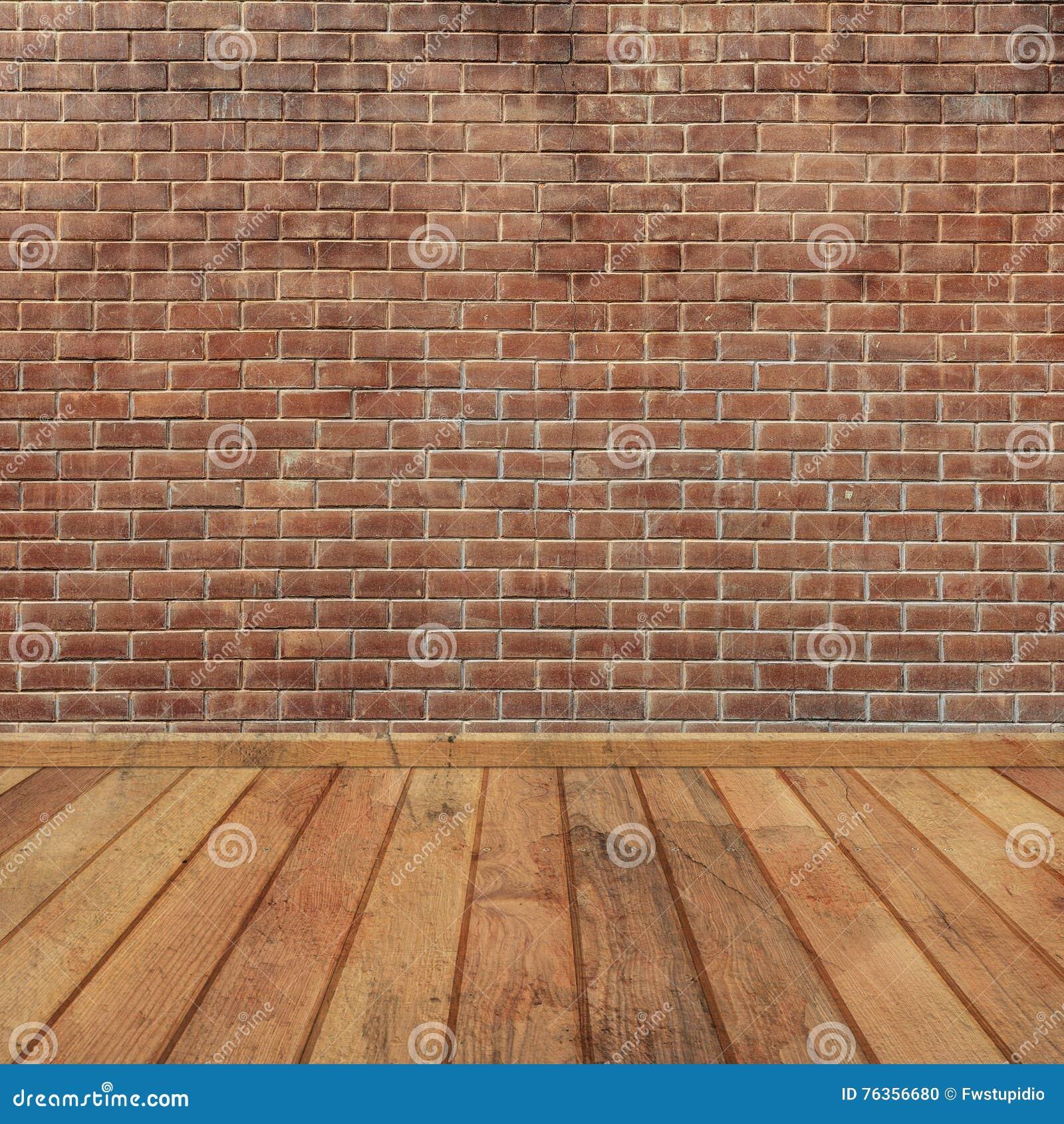 konkrete backsteinmauern und holzfußboden für text und hintergrund