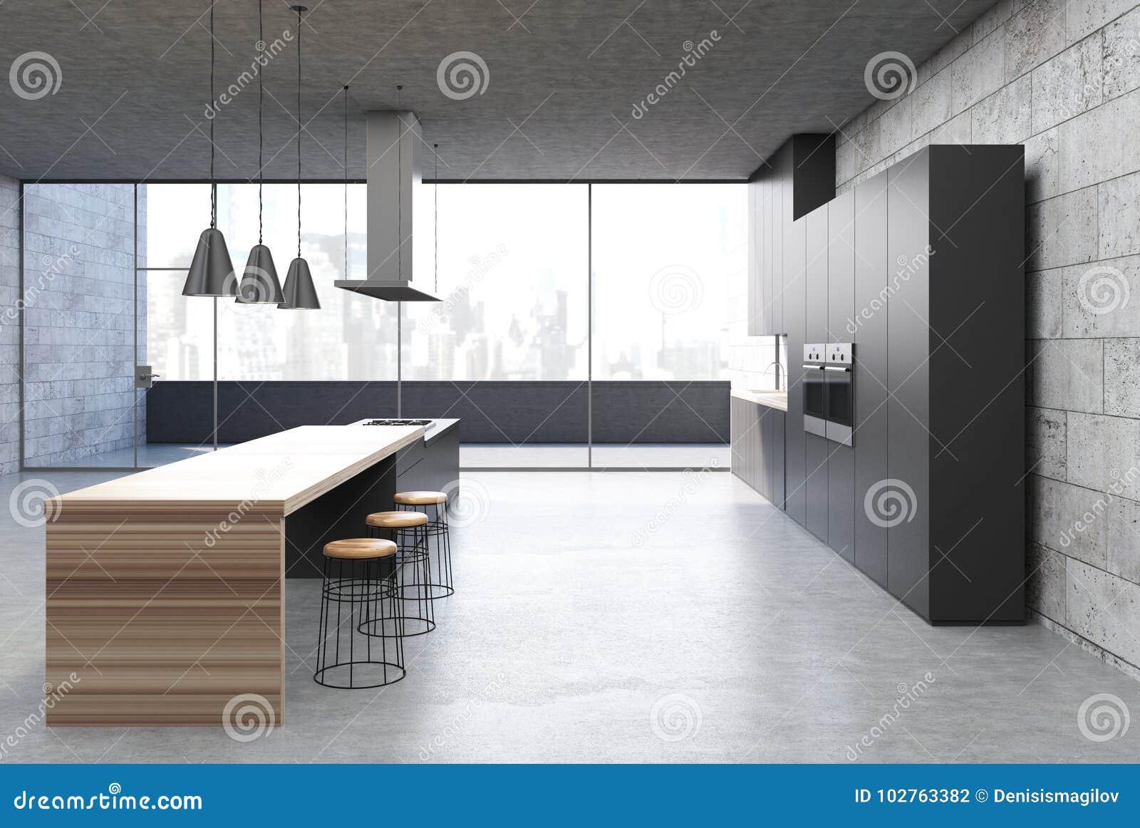 3d Fußboden Küche ~ Konkrete küche innen schwarze kabinette stange stock abbildung