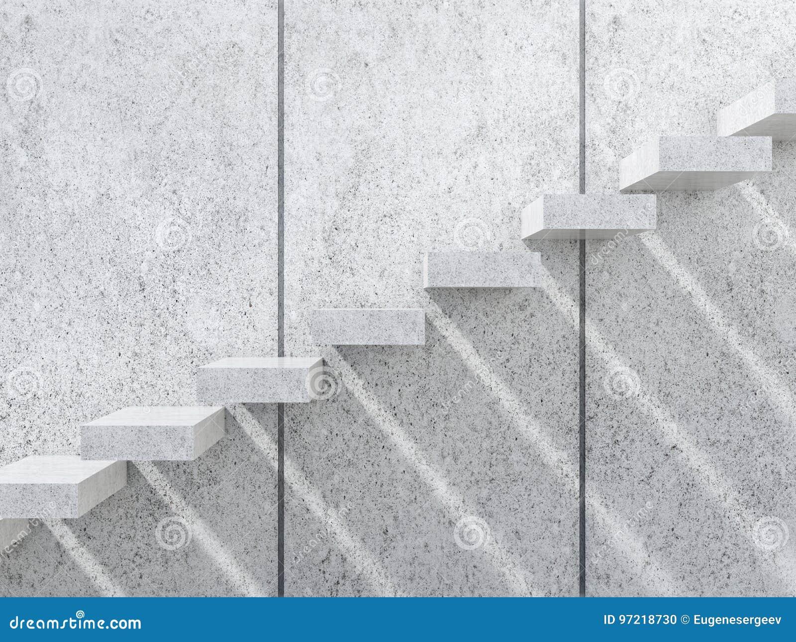 Konkrete Treppe mit Schatten auf der Wand 3d