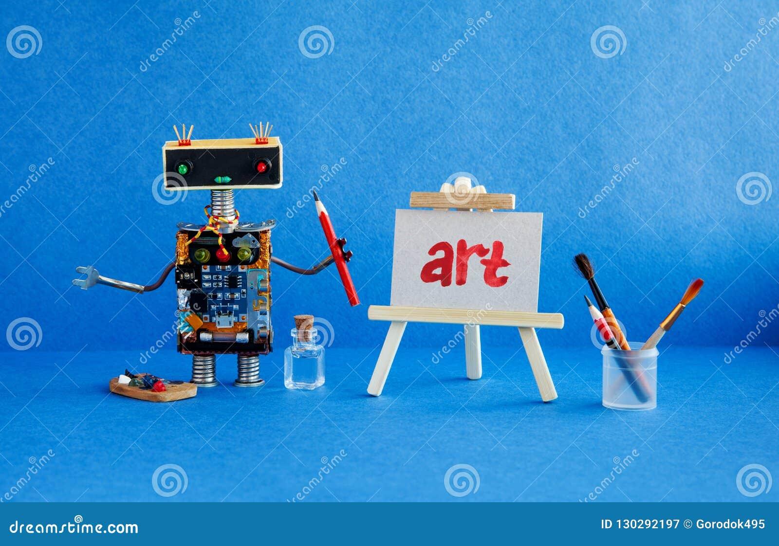 Konst och robotic begrepp för konstgjord intelligens Robotkonstnären, trästaffli och den handskrivna ordkonsten målade rött