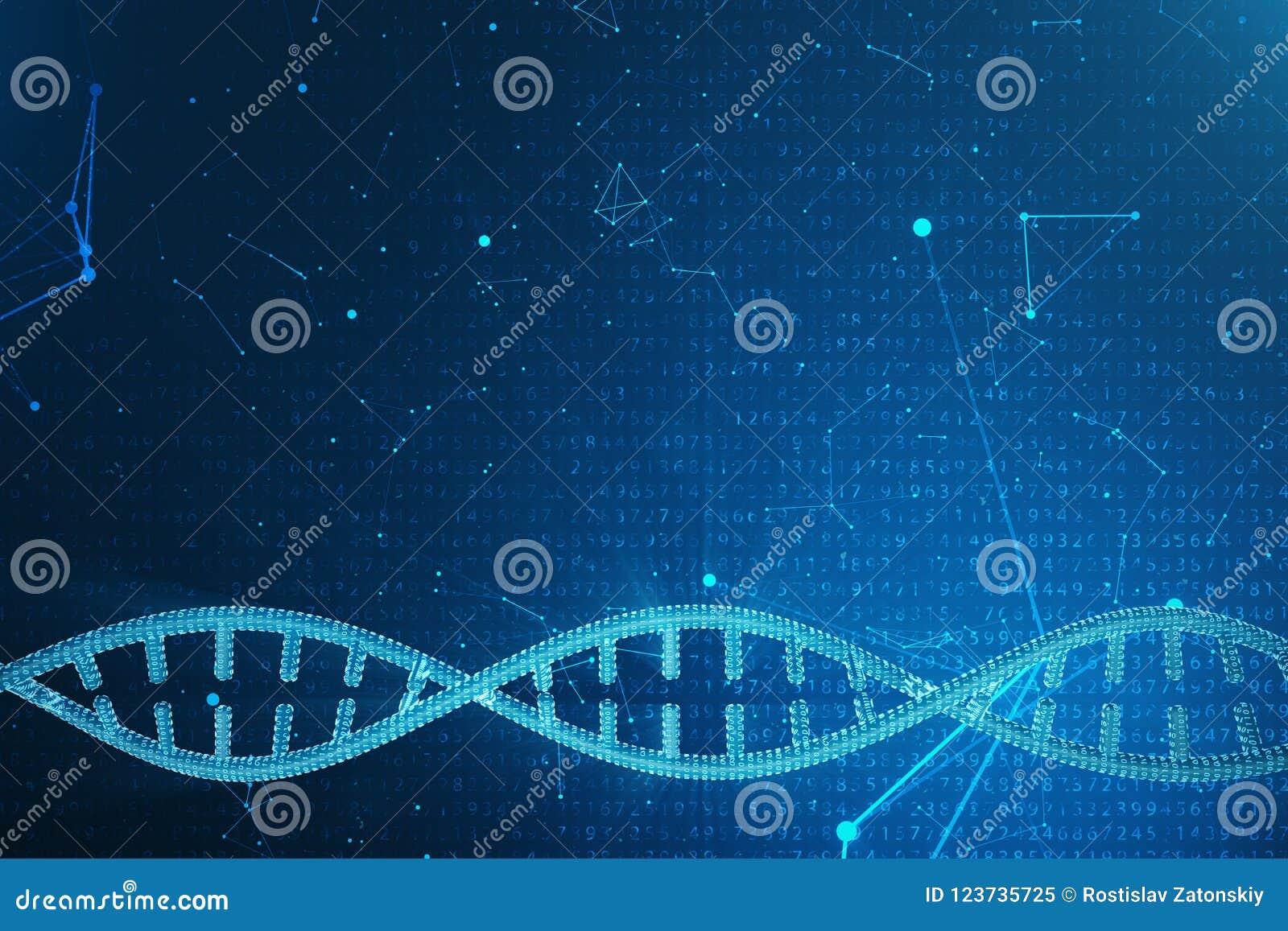 Konstgjord intelegenceDNAmolekyl Genom för binär kod för begrepp Abstrakt teknologivetenskap, konstgjord Dna för begrepp 3d