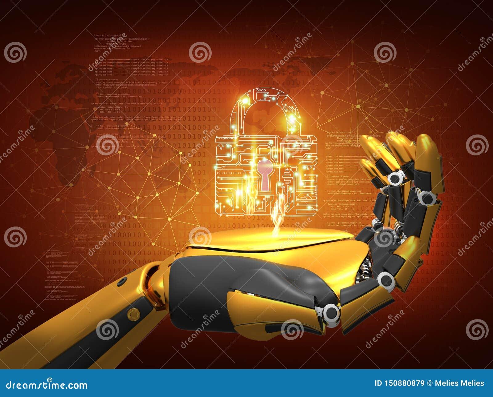 Konstgjord intelligens, datasäkerhet, avskildhetsbegrepp, robotinnehavlås, abstrakt bakgrund för tolkning 3D