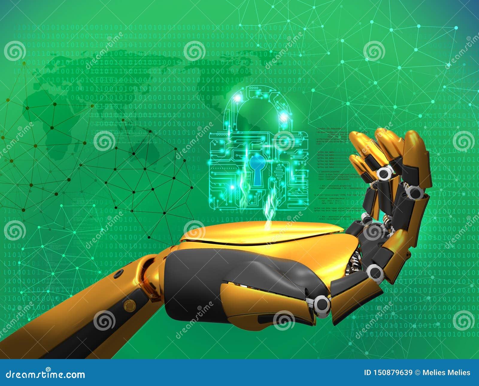 Konstgjord intelligens, datasäkerhet, avskildhetsbegrepp, robotinnehavlås, abstrakt blå bakgrund för tolkning 3D