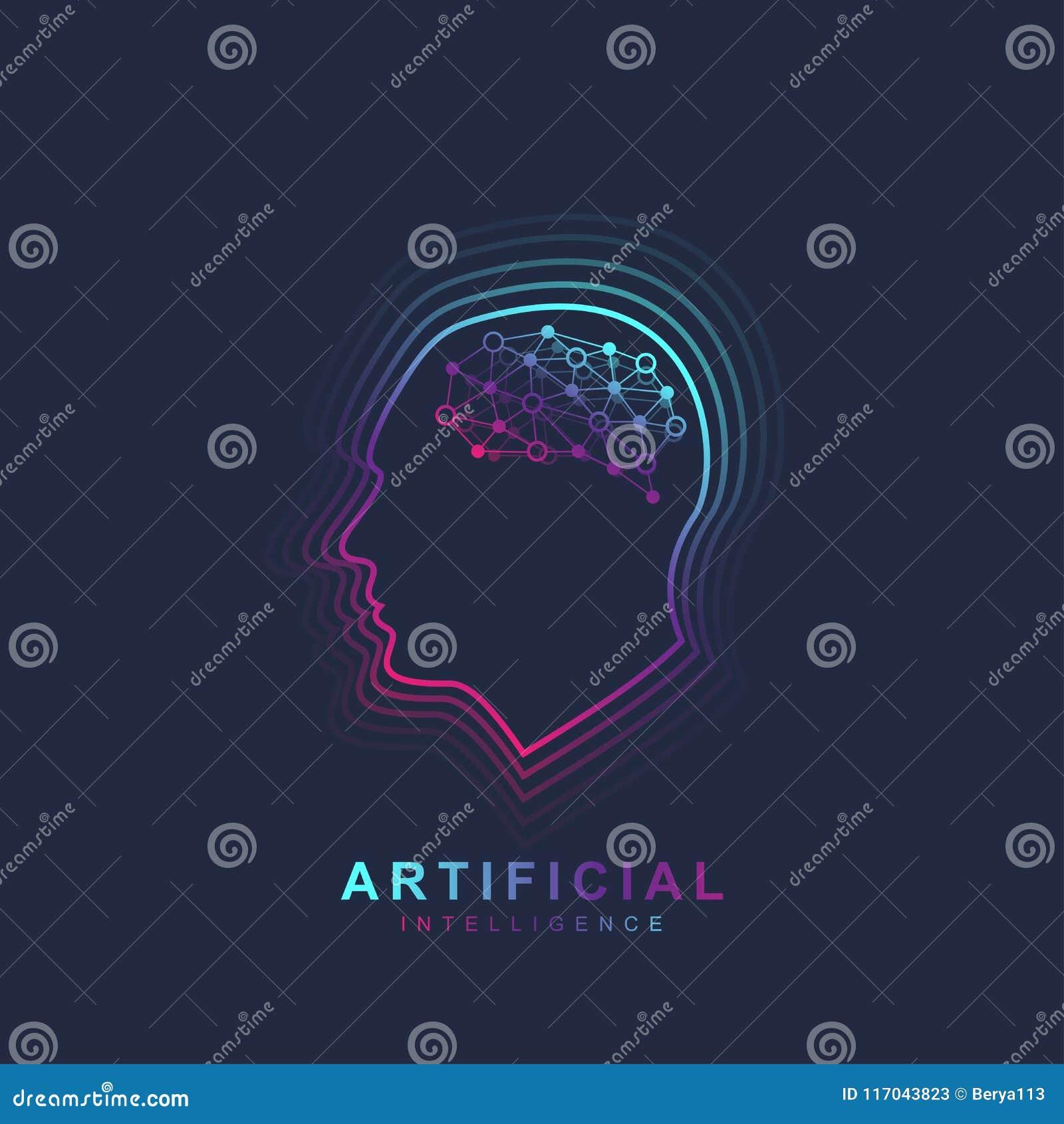 Konstgjord intelligens och lära för maskin Logo Concept Översikt för mänskligt huvud med hjärnsymbolen Vektorsymbol AI idékläckni