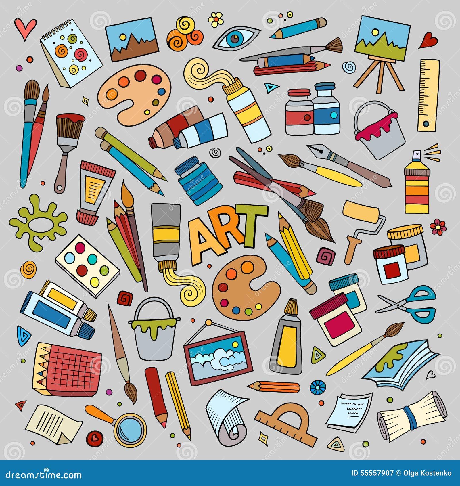 Konsthantverkvektorsymboler och objekt