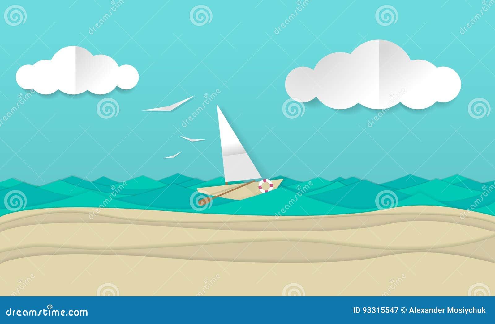 Konstillustration för pappers- hantverk av ett segelbåtskepp som seglar vågorna