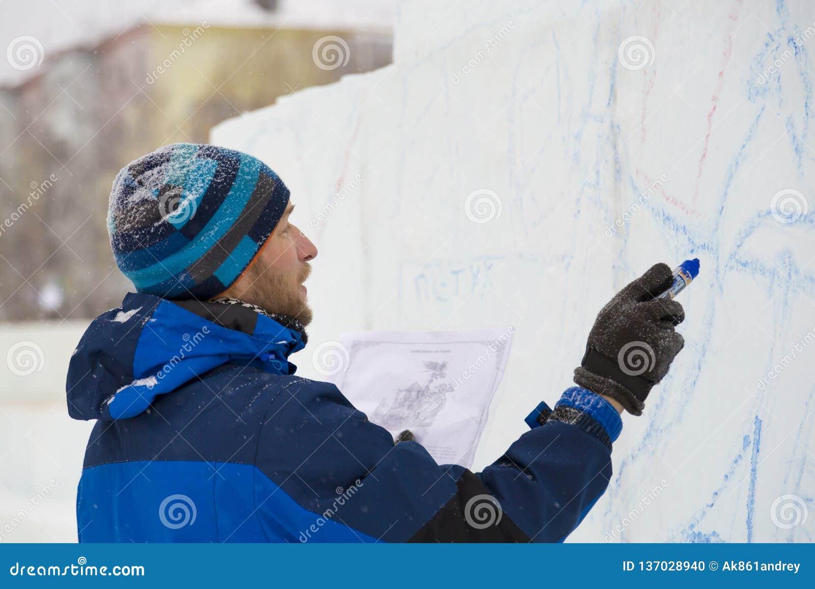 Konstnären drar på iskvarteret