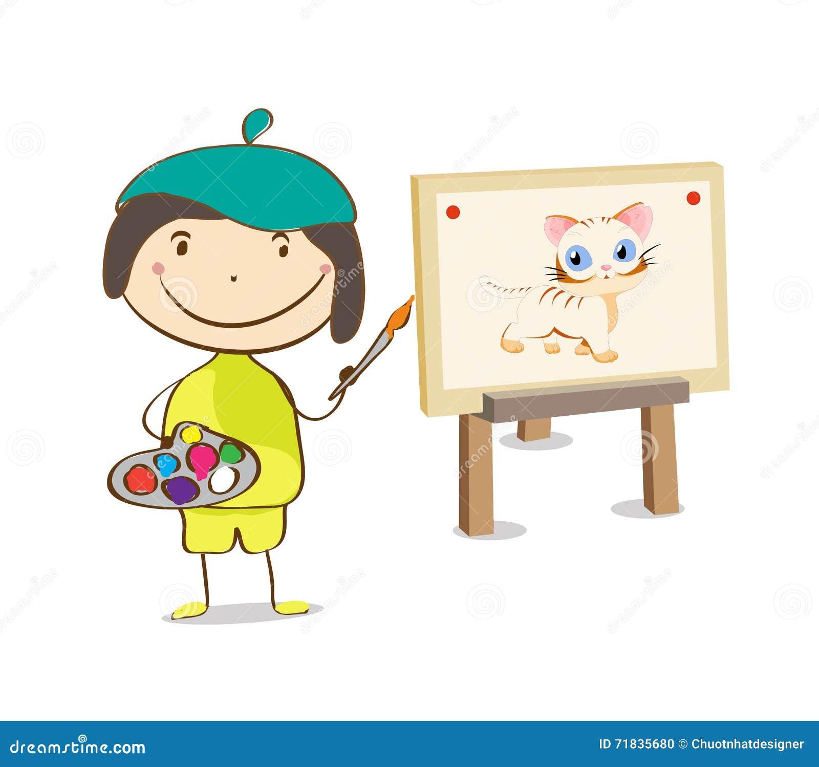 Konstnärkvinnlig- eller flickamålning på kanfas