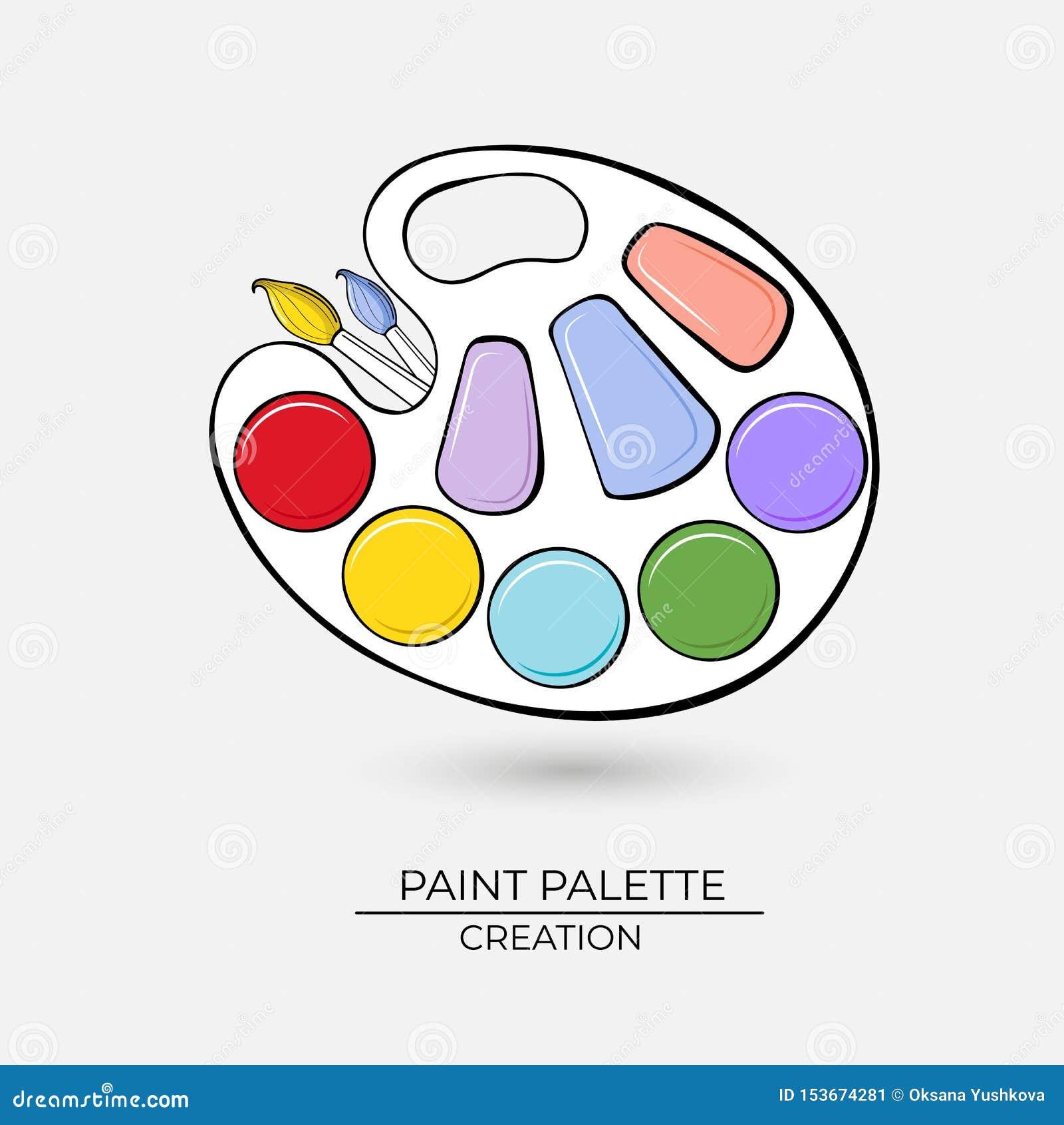 Konstnärlig palett för symbol för målarfärger med borstar på en vit bakgrund