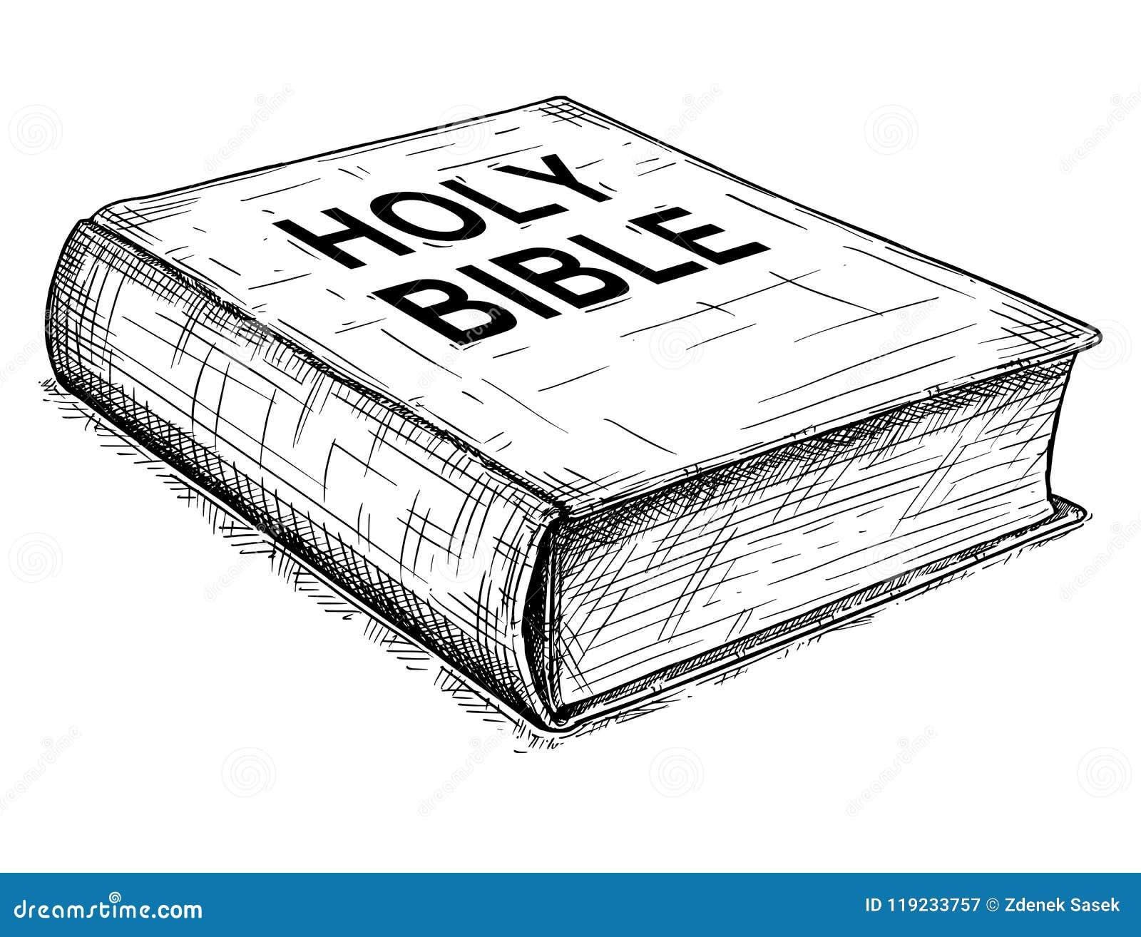 Konstnärlig teckningsillustration för vektor av boken av den heliga bibeln