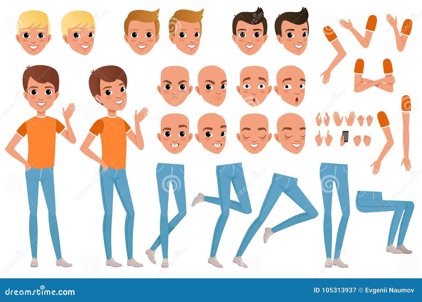 Konstruktör för tonåringpojketecken Uppsättningen av olik manlig sinnesrörelse vänder mot, frisyrer, händer, gester och ben Plan