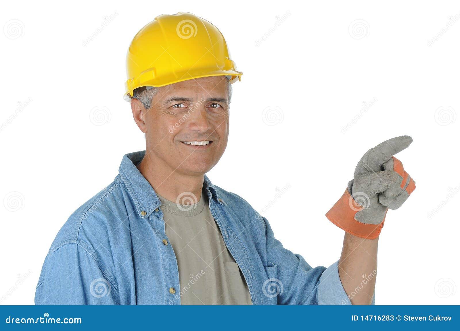 Konstruktion som pekar arbetaren
