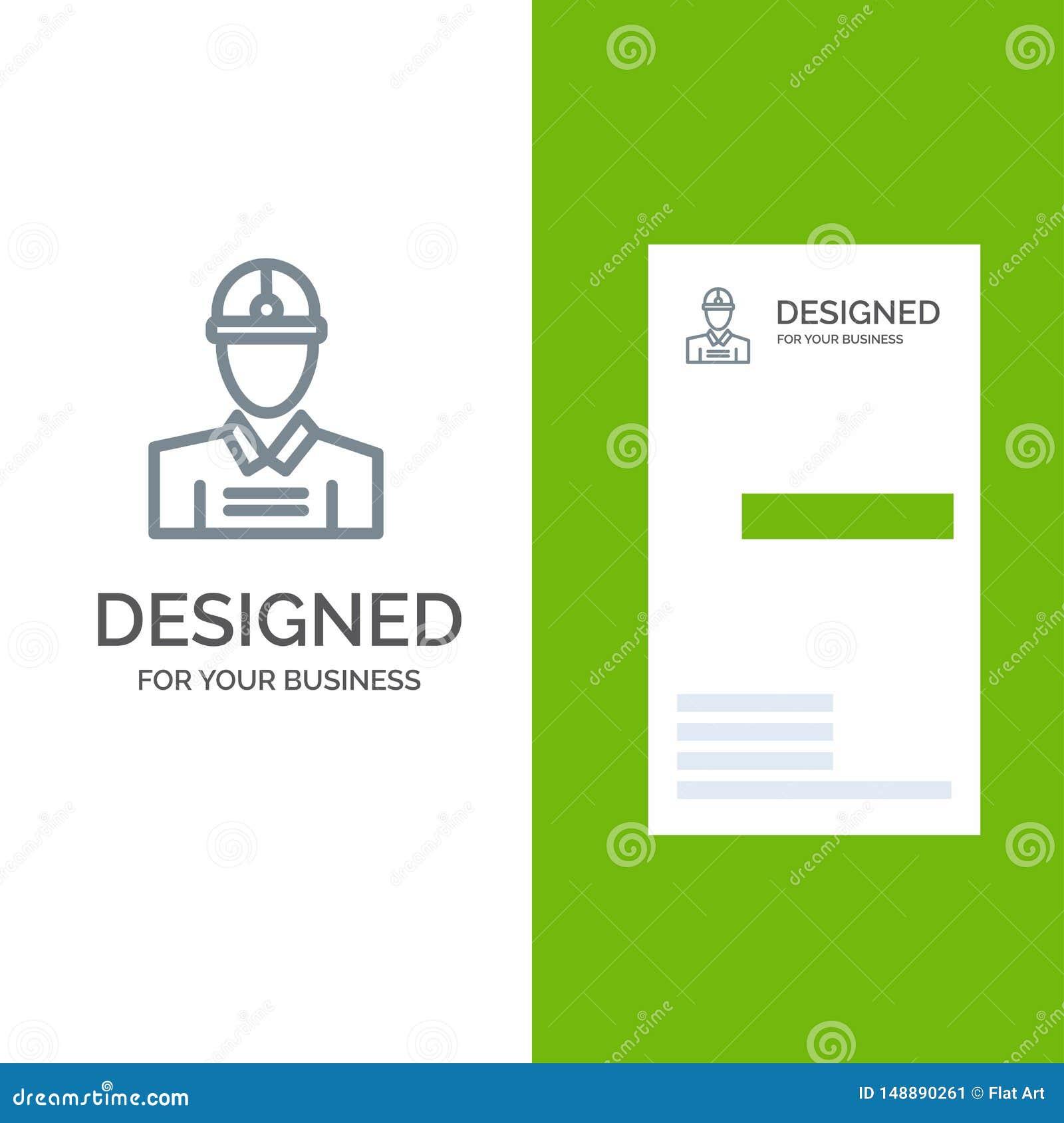 Konstruktion, tekniker, arbetare, arbete Grey Logo Design och mall för affärskort