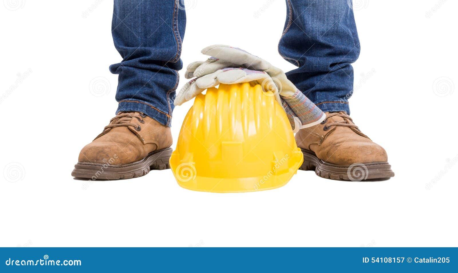 Konstruktionsbyggmästarefot, hjälm och handskar