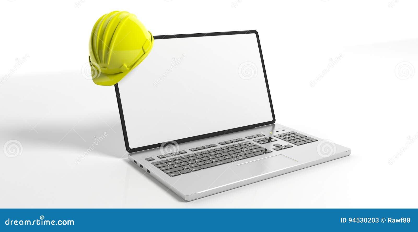 Konstruktionshjälm och en bärbar dator på vit bakgrund illustration 3d