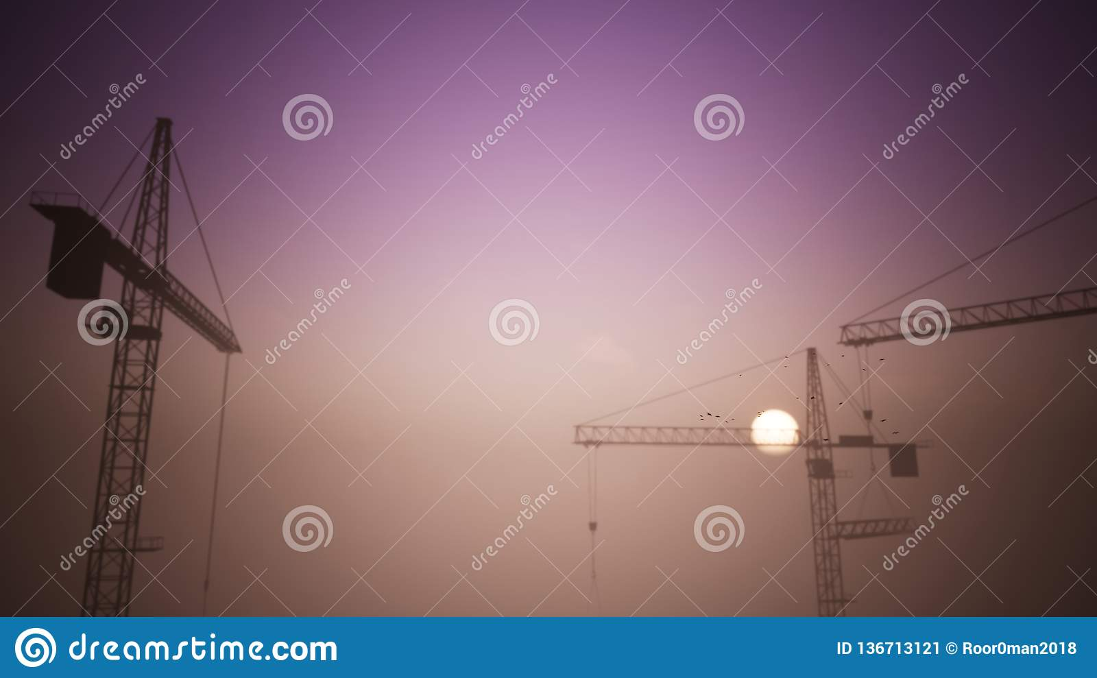 Konstruktionskranar i solnedgångplatsen med bortgången av en plan 1