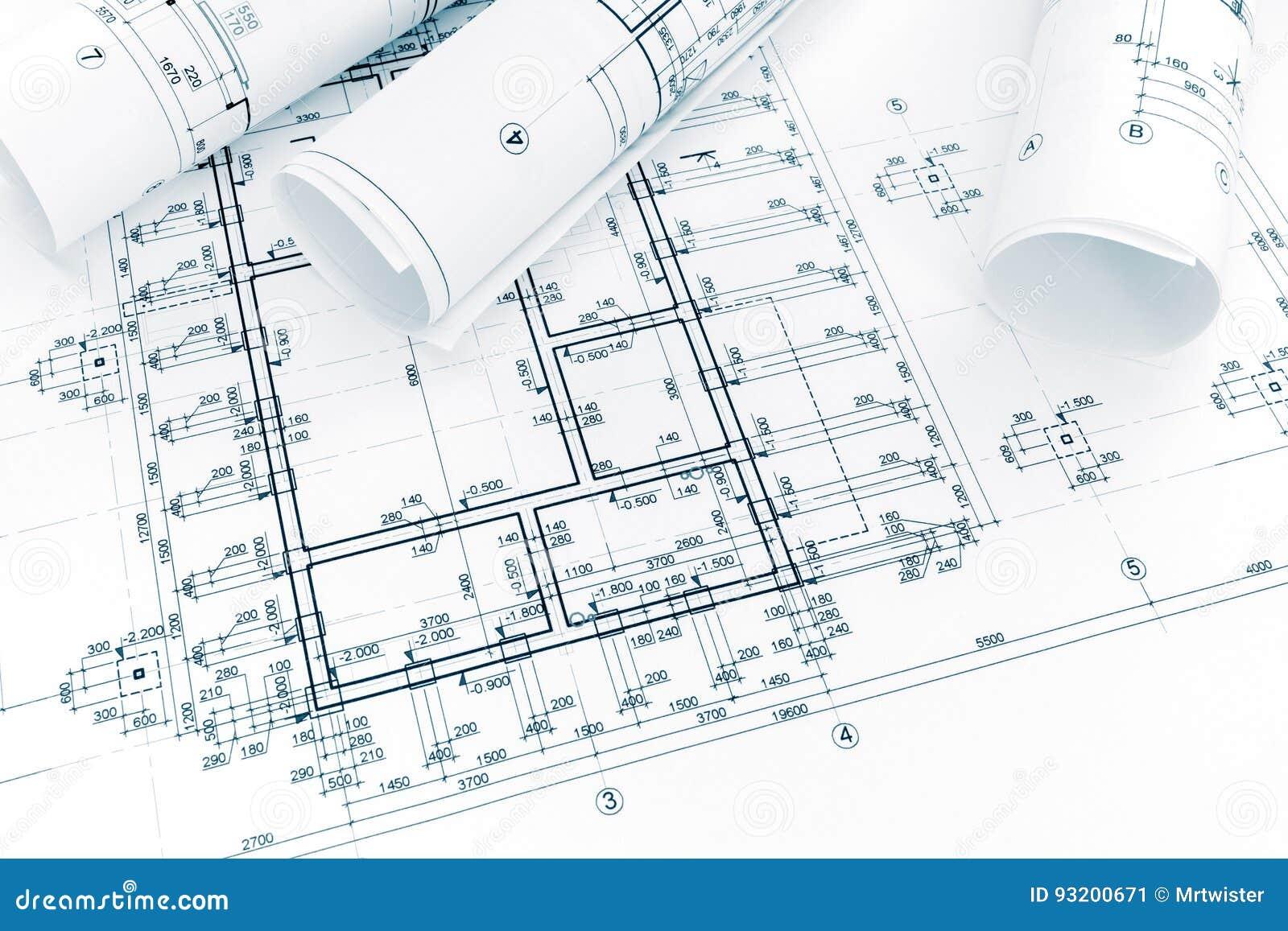 Konstruktionsplan, rullar av teknikritningar architectura