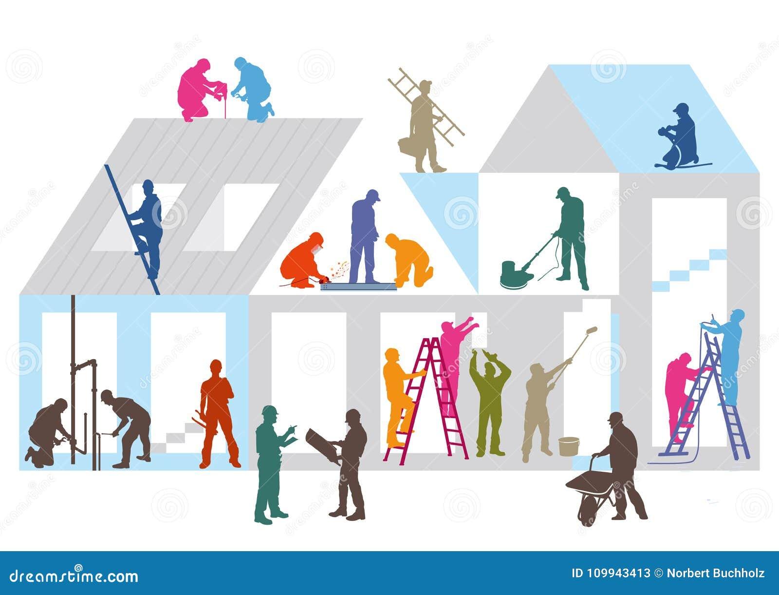 Konstruktionsplats och arbetare