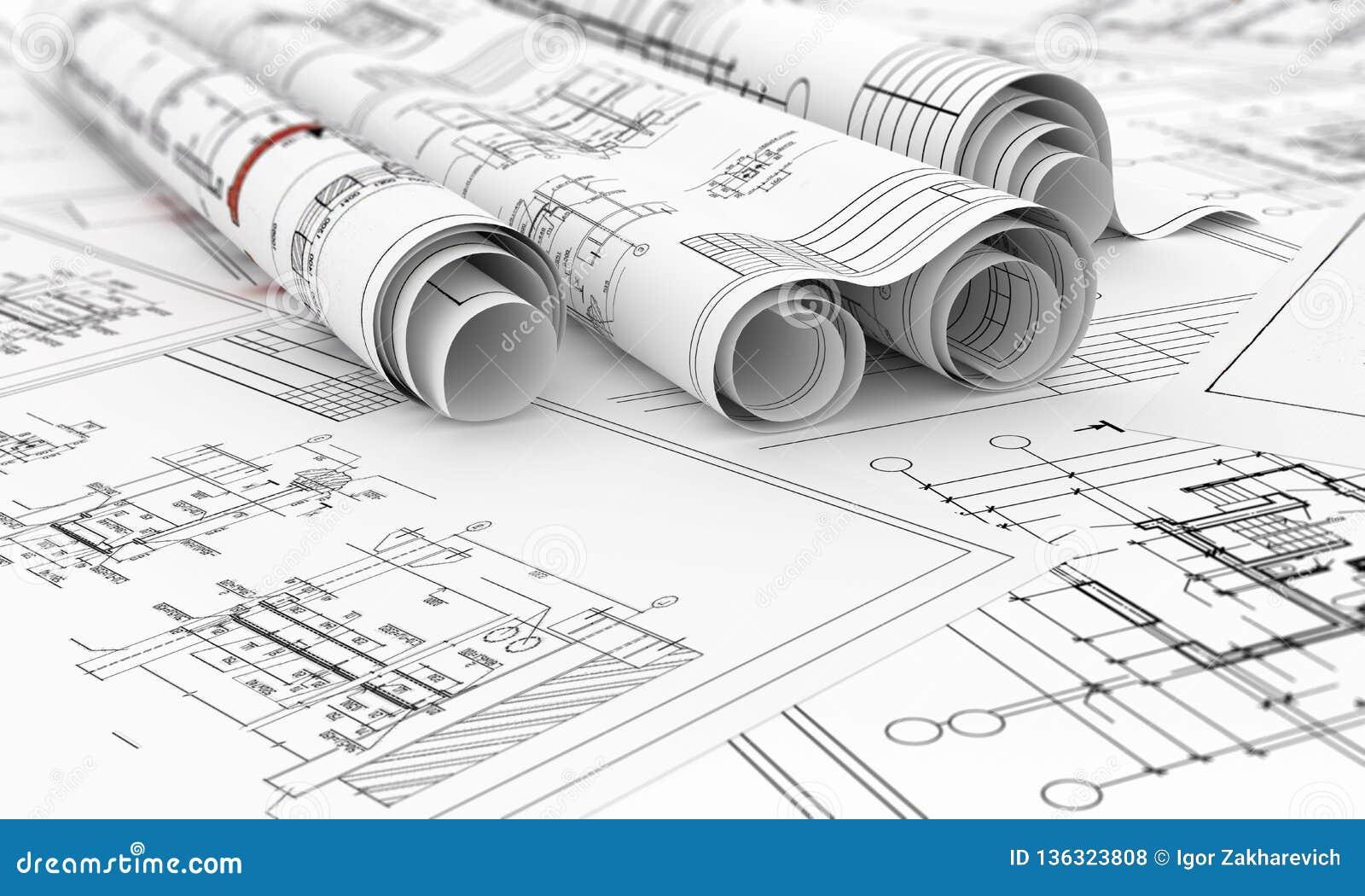 Konstruktionsritningar i rullar