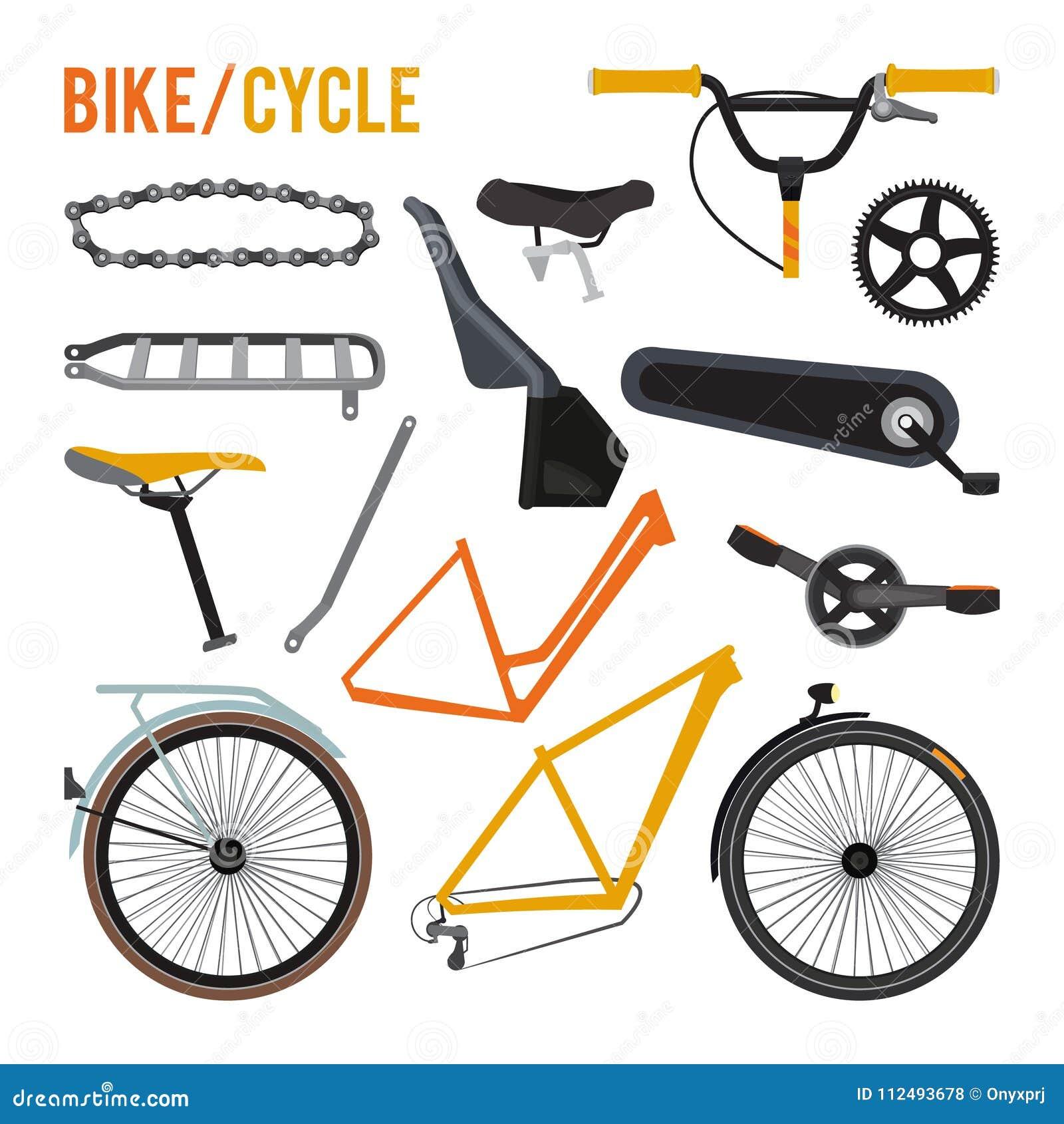 Konstruktor różne rowerowe części i wyposażenie