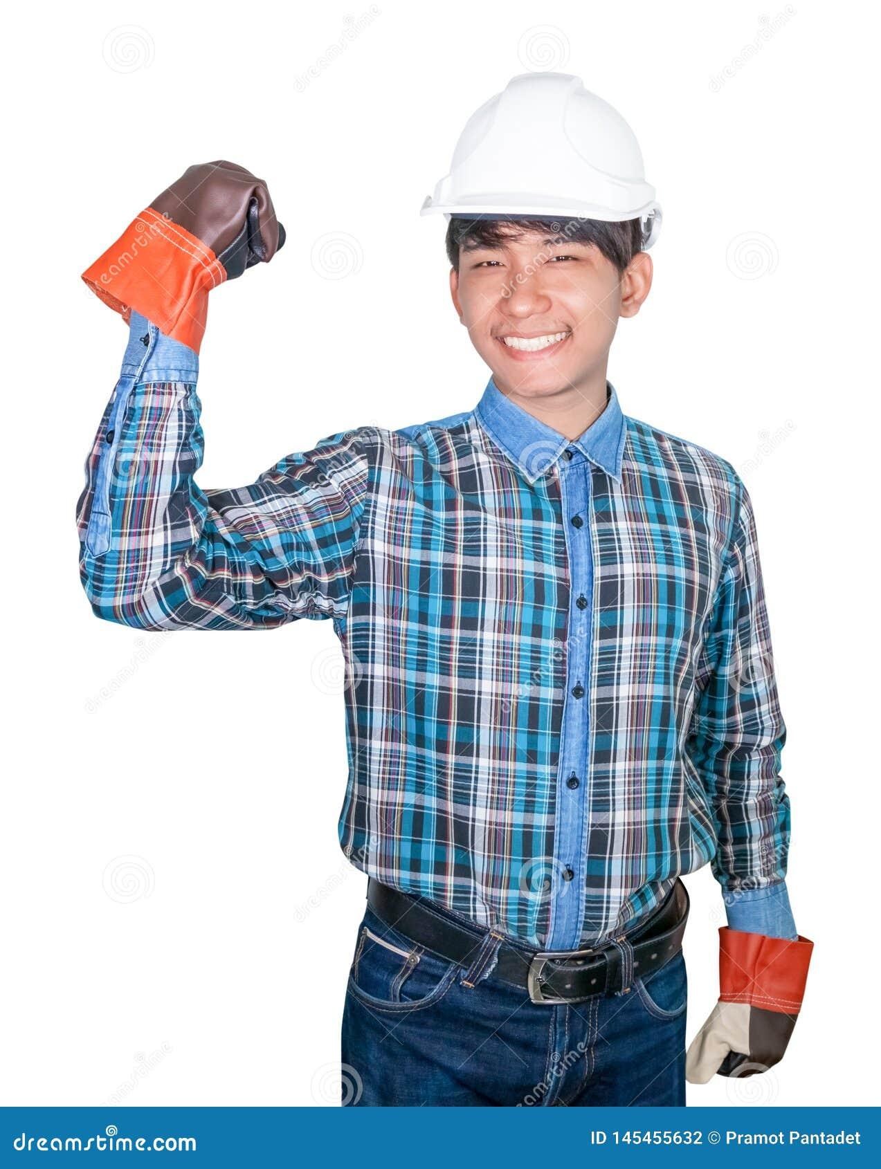 Konstruujący ręki pięść robi symbolowi Na kierowniczym bielu być ubranym Pasiastą koszulową błękitną i rękawiczkową skórę z biały